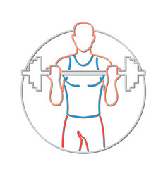 athlete lifting barbell neon sign vector image