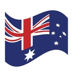 australia flag waving emblem icon vector image