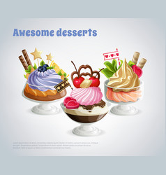 Awesome desserts composition vector