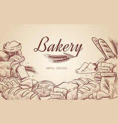 bakery background hand drawn cooking bread bakery vector image