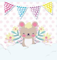 Bashower love cute little bear with flowers vector
