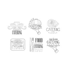 Black and white logos for catering vector