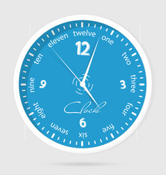 Blue dial plate wall clocks face on white vector
