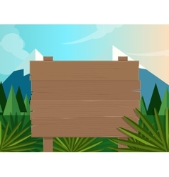 Board sign wooden forest jungle background vector