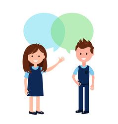 Boy and girl wearing school uniform and speech vector