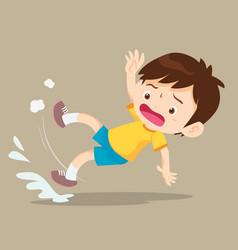 Boy falling on wet floor vector