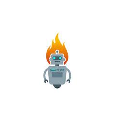Burn robot logo icon design vector