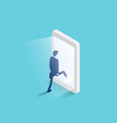 Businessman enters a glowing smartphone screen vector