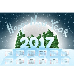 Calendar 2017 Happy New Year Merry Christmas Year vector image