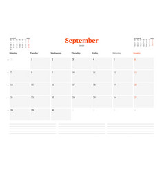 Calendar template for september 2020 business vector