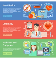 Cardiology Flat Banners vector image