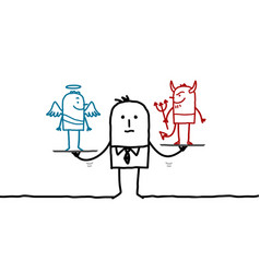 Cartoon man with devil and angel in balance vector