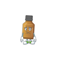 Cartoon picture syrup cure bottle with worried vector