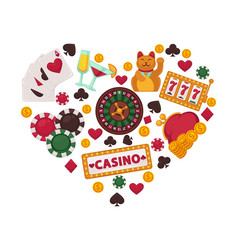 casino gambling equipment set collected in heart vector image
