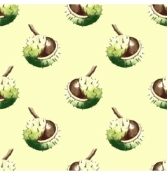 Chestnut walnut watercolor seamless pattern vector