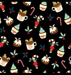 christmas seamless pattern on black backrgound vector image