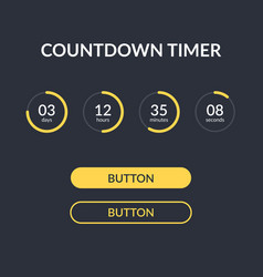 Countdown timer website element with vector
