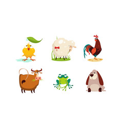 Cute cartoon animals set chicken sheep cock vector