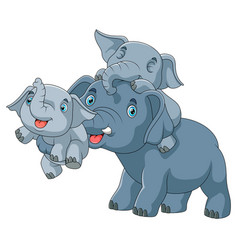 cute cartoon family elephant playing together vector image