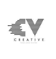 Cv c v zebra letter logo design with black and vector