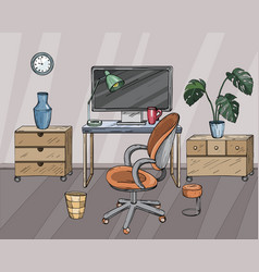Desktop home office interior design vector