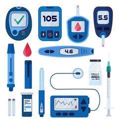 Diabetes flat infographic elements set in vector