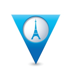 Eifel tower icon on map pointer blue vector