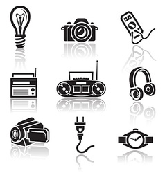 Electronics icon set black sign on white vector