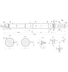 Expanded shaft sketch with element sections vector