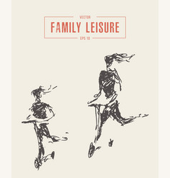 family leisure riding scooter drawn sketch vector image
