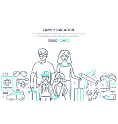 family vacation - line design style web vector image