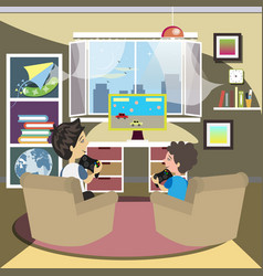 father and son playing video games vector image