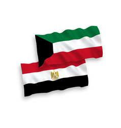 Flags egypt and kuwait on a white background vector