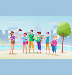 flat tourist with tour guide at excursion vector image