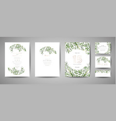 floral wedding save the date invitation cards vector image