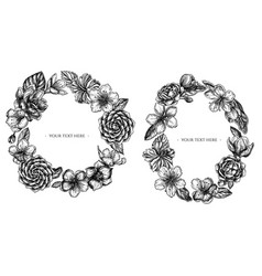 Floral wreath black and white hibiscus plum vector