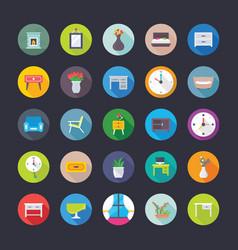 furniture flat icons set vector image