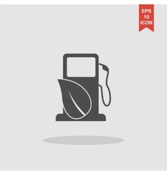 Gas station with leaves icon vector image