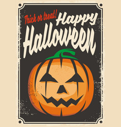 halloween retro card design vector image