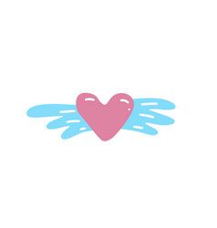 hand drawn winged heart dating and romance doodle vector image