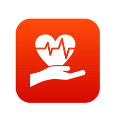 hand holding heart with ecg line icon digital red vector image