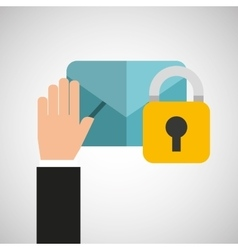 Hand holds email security icon vector