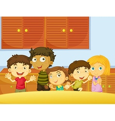 Happy children in the kitchen vector image