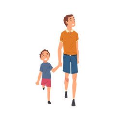 Happy smiling dad and son walking holding hands vector