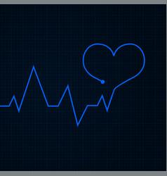Heartbeat cardiogram graph blue line in heart vector