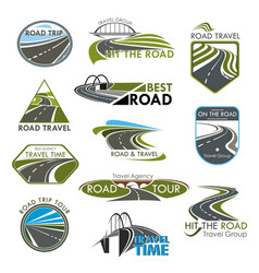 Icons road travel or tourist trip company vector