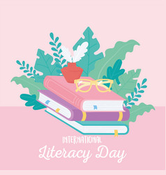 international literacy day glasses ink and stack vector image