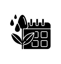 Irrigation scheduling black glyph icon vector