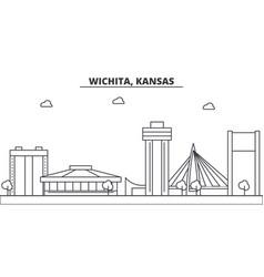 Kansas wichita architecture line skyline vector