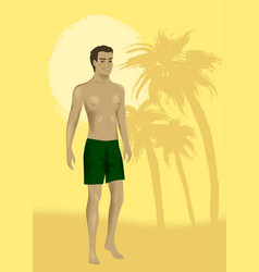 man at sand beach vector image
